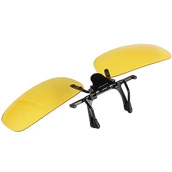Jee Designer polarisierte Klipp auf Sonnenbrille M?nner Frauen Flip-up Sonnenbrille Fahren LTS005(Schwarz Gelb,55mm)