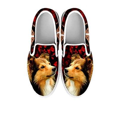 Pawlice Shetland Sheepdog On Dark Red Print Slip Ons Shoes For Women