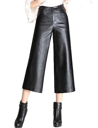 Tanming Women s High Waist Faux Leather Cropped Wide Leg Pants (X-Small e514444670b0