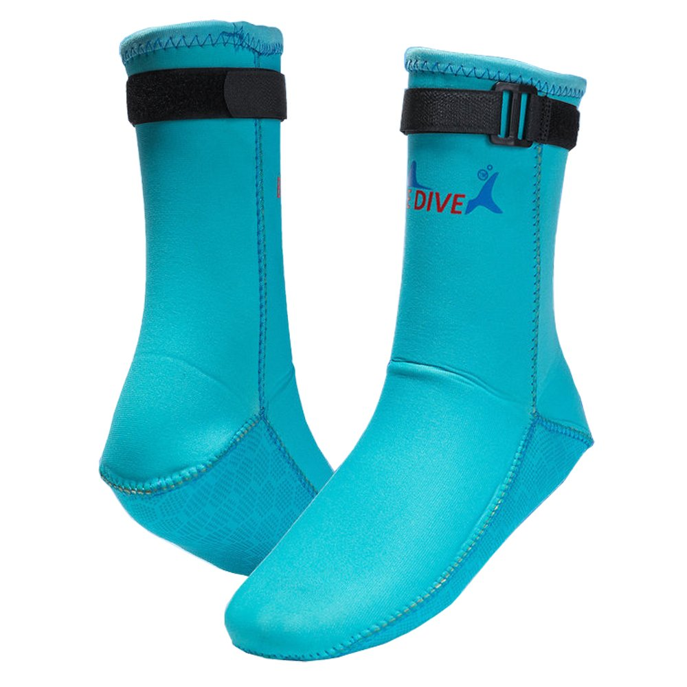 Water Shoes,Beach Socks Booties,Premium Men Women Girl 3mm Neoprene Boots Anti-Slip Diving Boot Dive Boot Snorkeling Socks Diver Scuba Diving Shoes Snorkel Boots for Surfing,Water Sports (Blue, L)