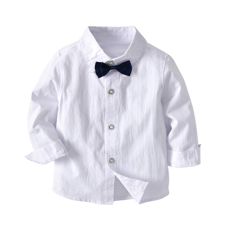 Desirca 4PC Gentleman Winter Clothes Outfits Toddler Baby Boy Bowtie Gentleman Vest T-Shirt Pants Wedding Suit Cloth Sets