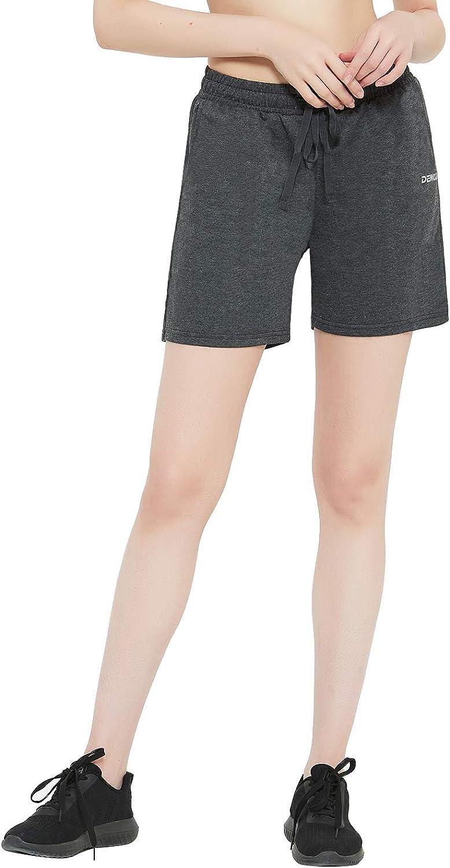 DEMOZU Womens 5//10 Active Lounge Bermuda Jersey Shorts Workout Knit Sweat Shorts with Pockets