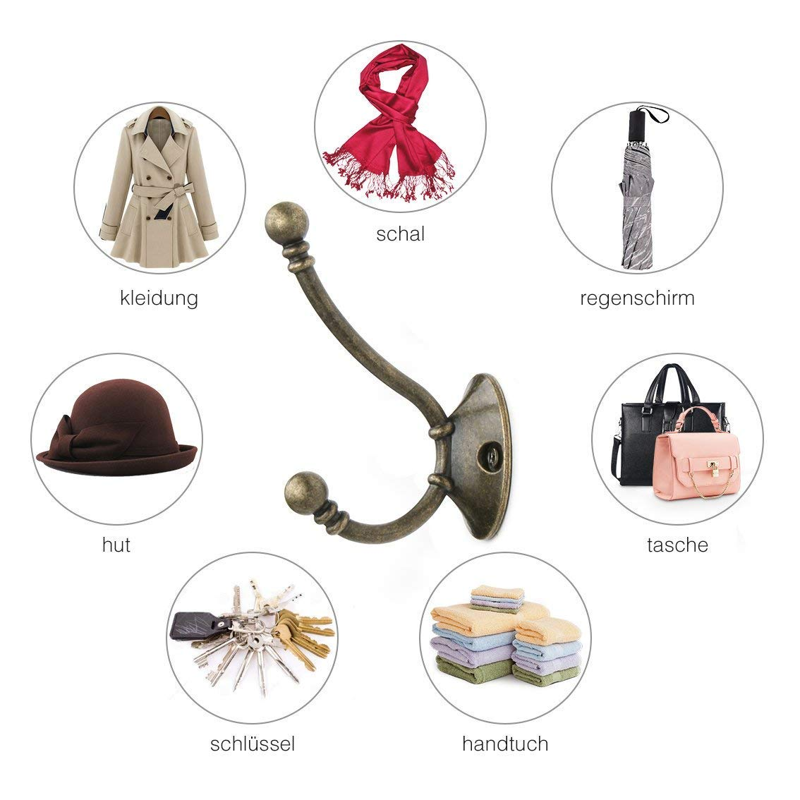 Coat Hooks Vintage Antique Wall Mounted double Hooks Hanger 8pcs Heavy Duty Hooks for Kitchen Bathroom Bedroom Office Lavatory Closets Mounting Screws Provided