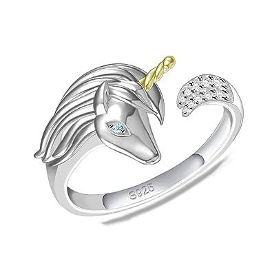 fead4e00f ACJNA 925 Sterling Silver Unicorn Pendant Necklace Gifts for Girls Women  (Adjustable Unicorn Open wrap