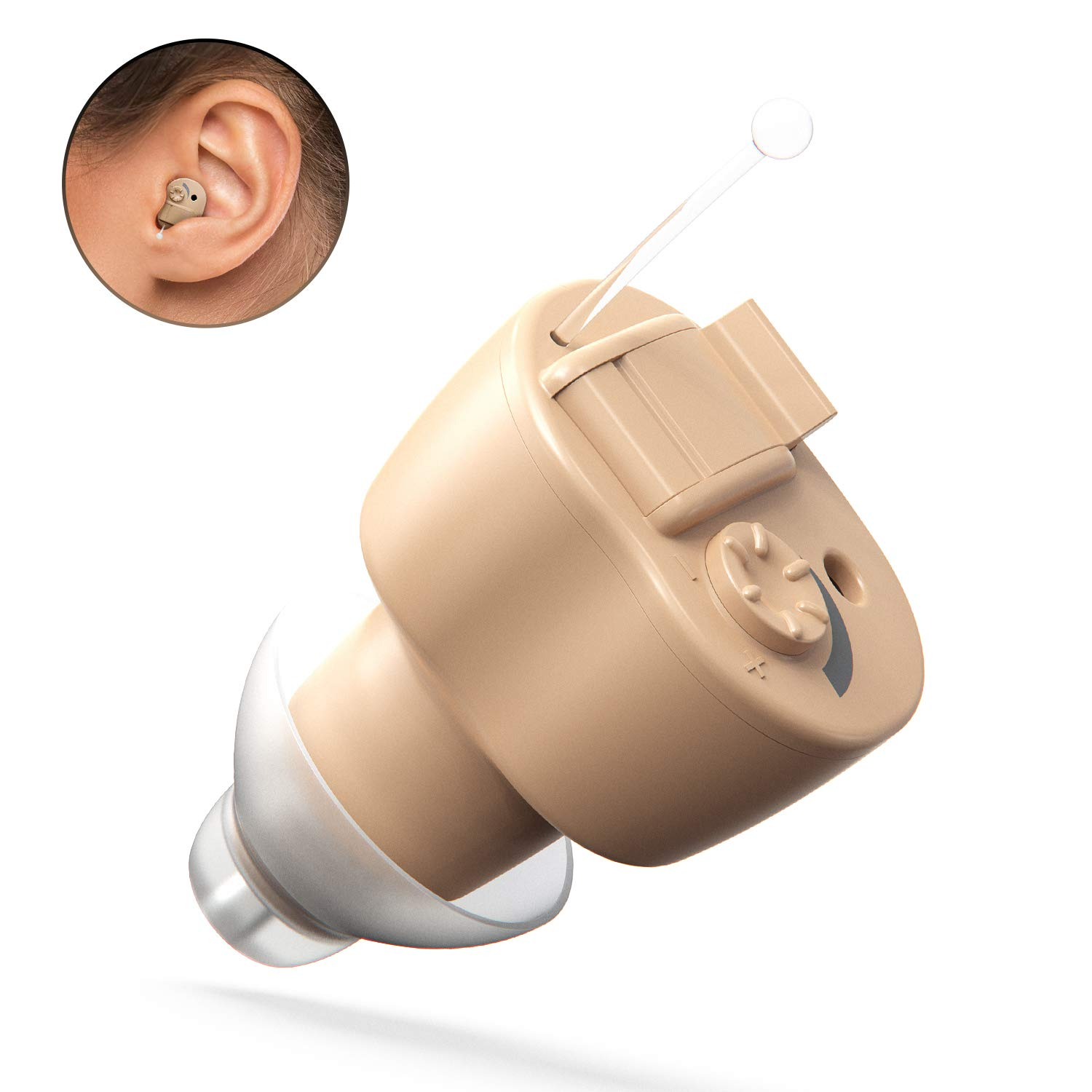FDA Approved Digital Hearing Amplifier Aid - Super Mini Personal Sound Enhancement Device with Noise Reduction for Adults and Seniors, 2 Batteries and Hearing Aid Cleaning Brush Include by iAid