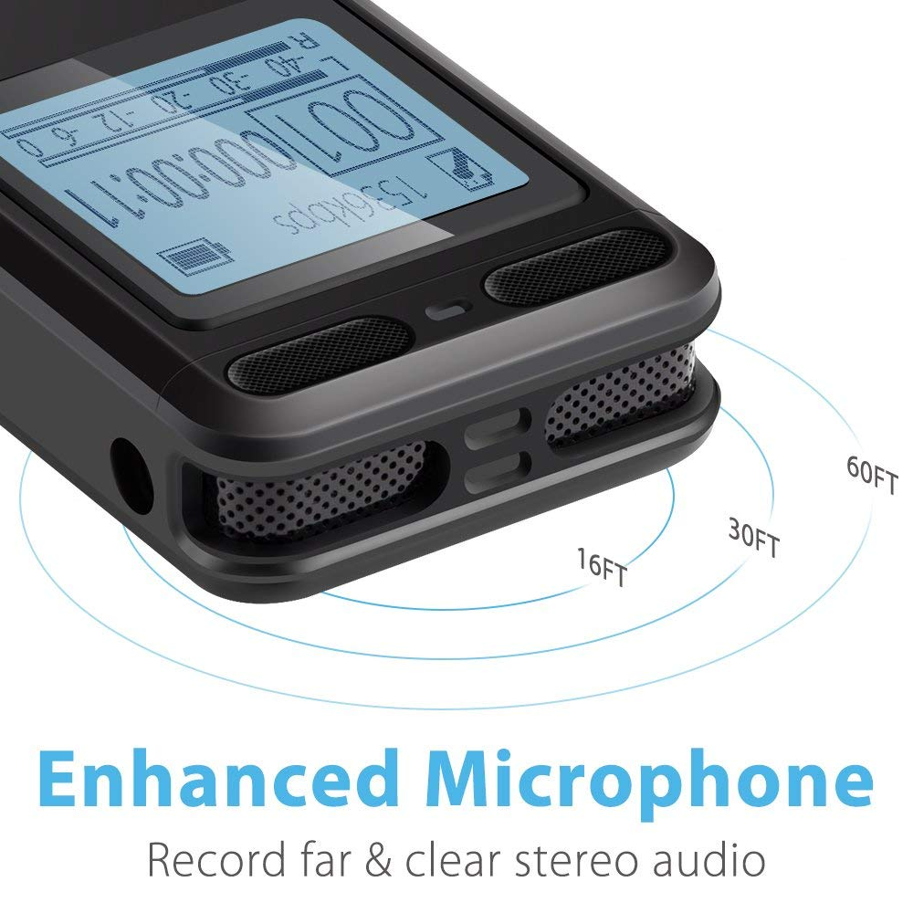 EVISTR 16gb Digital Voice Reorder Line in - Portable Recorders for Lectures Voice Activated Recording Device with Playback, Password, USB Rechargeable by EVISTR (Image #2)