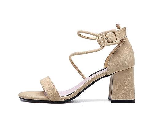 DANDANJIE Femmes Chaussures Été givré Base Pompe Sandales Confort Talons Talon Chunky Bout Rond pour la Fête Et Robe de Soirée (Color : Apricot, Taille : 34)