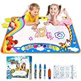 Jakoghii Water Doodle Mat, Kids Toys Aqua Drawing Mat Large Painting Writing Coloring Pad 4 Magic Pens for Boys Girls Age of 1,2,3,4,5,6,7-12 Yr, Educational Toy for Children Gift -Size 34.5'' x 22.5''