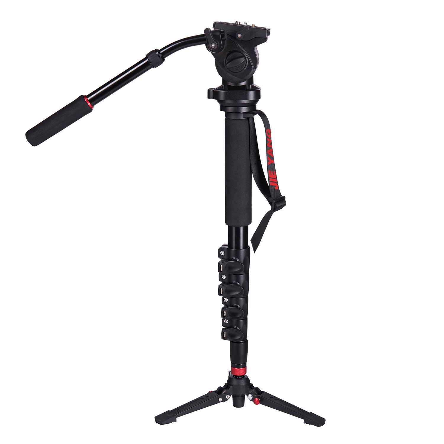 Profession DSLR Camera Monopod, With Fluid Pan Head Quick Release Plate And Removable Feet Video Monopod, 63'' Max Load 11 LB for DSLR Camera and Video