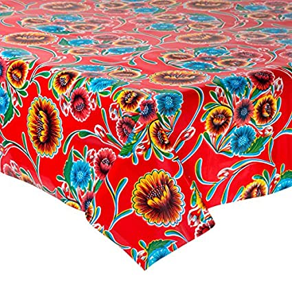 New Mexican Oilcloth Fabric Tablecloth PVC Cotton Waterproof 120 cm Blue Skulls