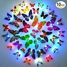 Glow in the Dark LED Butterflies for Party Wedding, Light Up Butterfly for Kids Room Nursery Wall Decoration, Cool Party Supplies - Random Color 10 Count