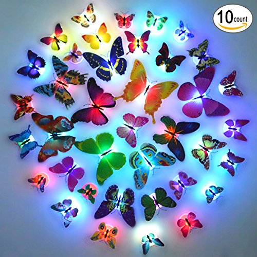 Glow in the Dark LED Butterflies for Party Wedding, Light Up Butterfly for Kids Room Nursery Wall Decoration, Cool Party Supplies – Random Color 10 Count