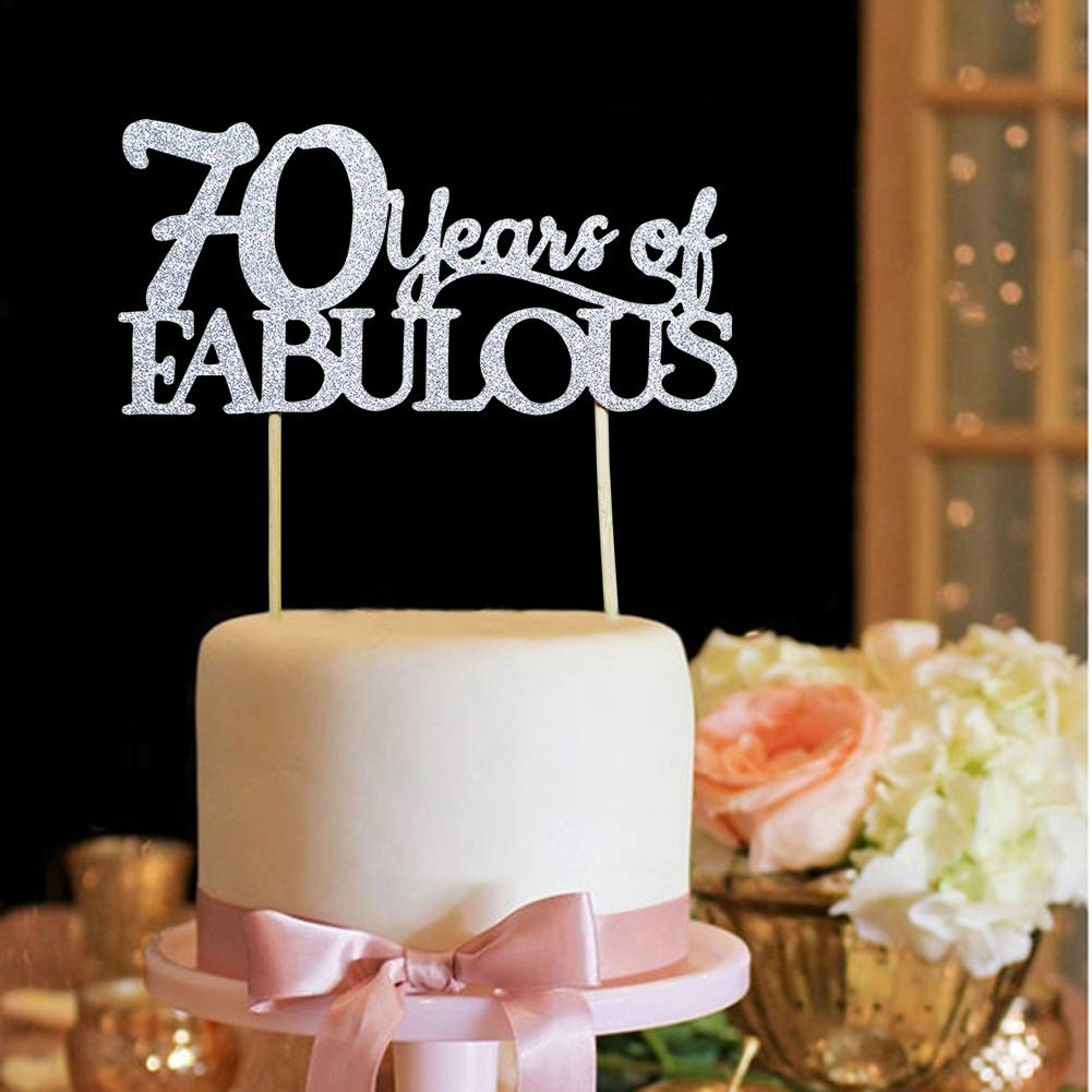 70 /& Fabulous 70 Years of Fabulous Cake Topper Happy 70th Birthday Wedding Party Decorations Silver Glitter