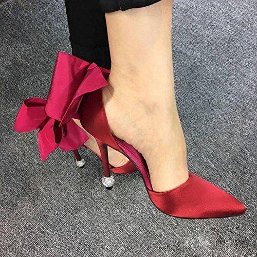 Hauts CN38 Rouge Printemps Stiletto Et Bleu Chaussures Noir taille Rouge Bleu EU38 YIXINY Bowknot UK5 Femmes Été Pointu Escarpin Pour Satin Talons Couleur 5 gpxPvqtwB