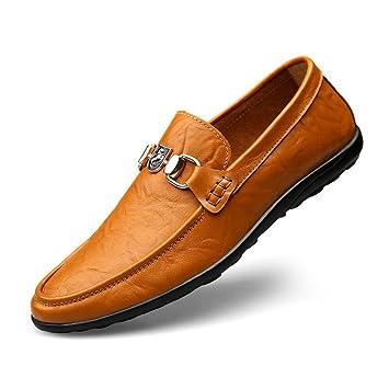 Zapatos de Hombre Primavera/otoño Zapatos de Frijoles Zapatos de Hombres Cuero Transpirable Zapatos Casuales Simples Moda Trend Soft Bottom Zapatos de ...