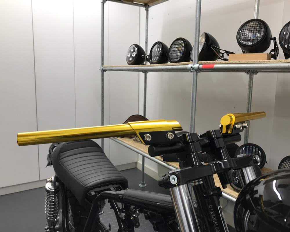 7//8  22mm Guidon Personnalis/é Cafe Racer Brat Moto R/étro Projet Moto Or