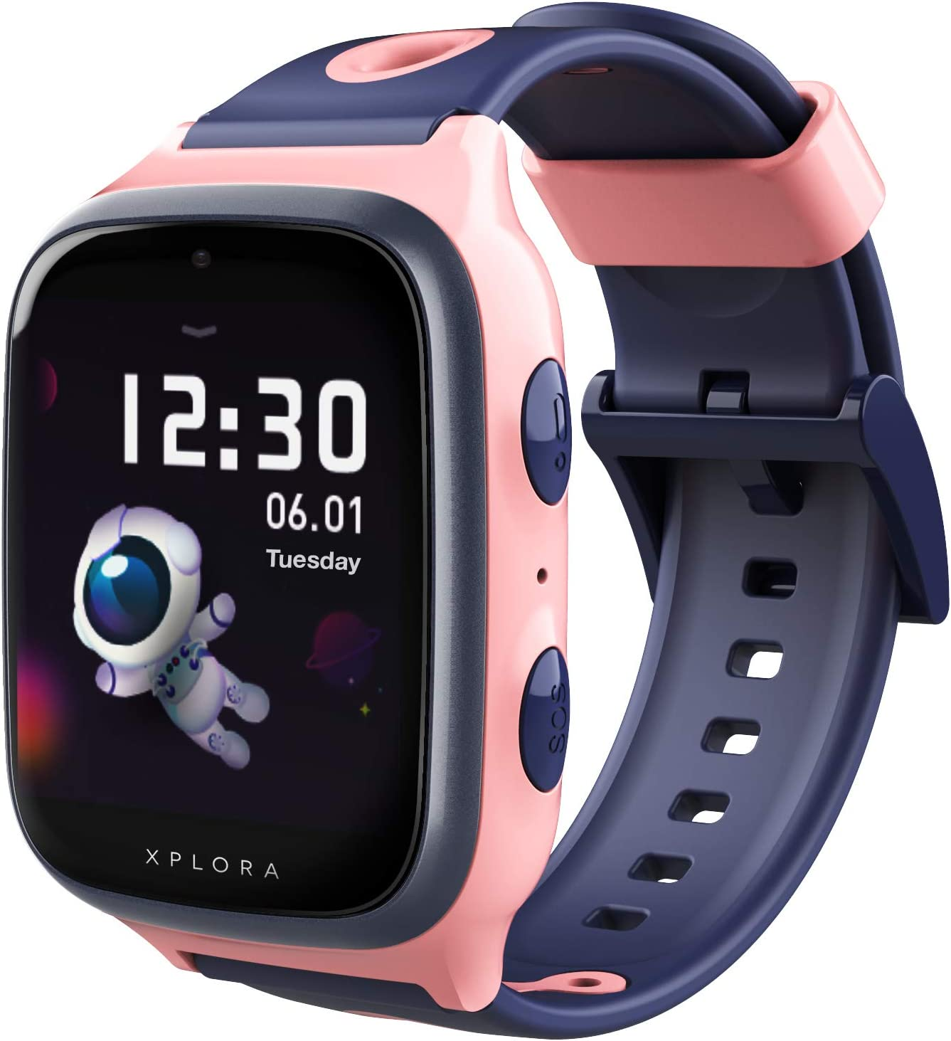 XPLORA 4 - Teléfono Reloj 4G para niños (SIM no incluida) - Llamadas, Mensajes, Modo Colegio, SOS, GPS, cámara y podómetro - Incluye 2 años de garantía (Rosa)