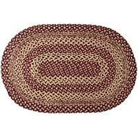 VHC Brands Classic Country Primitive Flooring-Burgundy Tan Jute Red Rug, 2 x 3