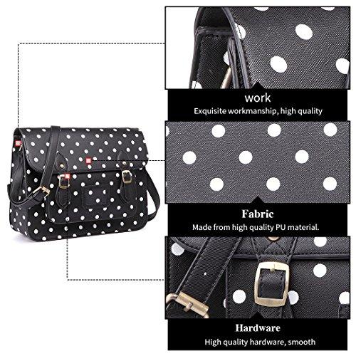 Black Miss Leather Polka School Polka Work Bag Dots Designer Briefcase Vintage Dot Bag Satchel Faux Brand Lulu nqHpA