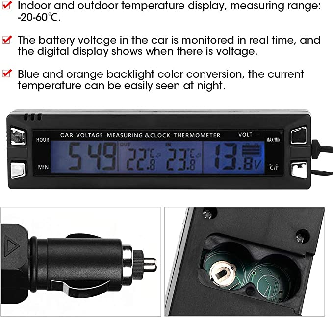 Cuque 12V Car Digital Thermometer Car Mini Electronic Clock with Thermometer Voltmeter Meter