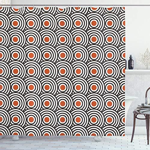 Ambesonne Modern Art Shower Curtain, New Age Retro Minimalist Concentric Spiral Vortex Abstract Work of Art, Cloth Fabric Bathroom Decor Set with Hooks, 70