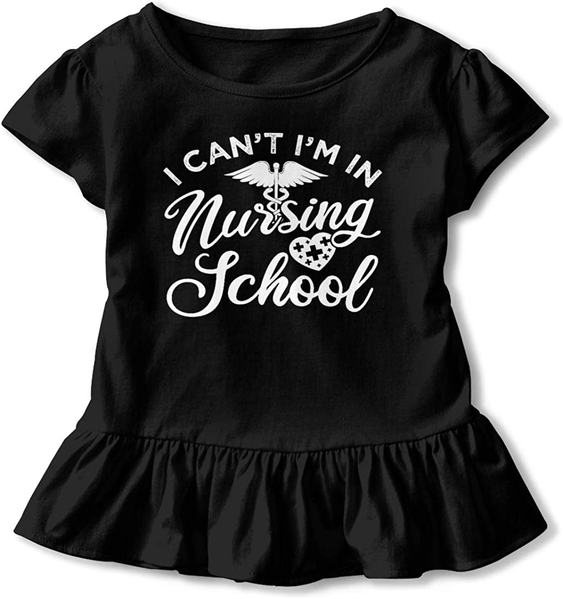 I Cant Im in Nursing School Shirt Baby Girls Flounced Short Sleeve Shirt Dress for 2-6 Years Old Baby Black