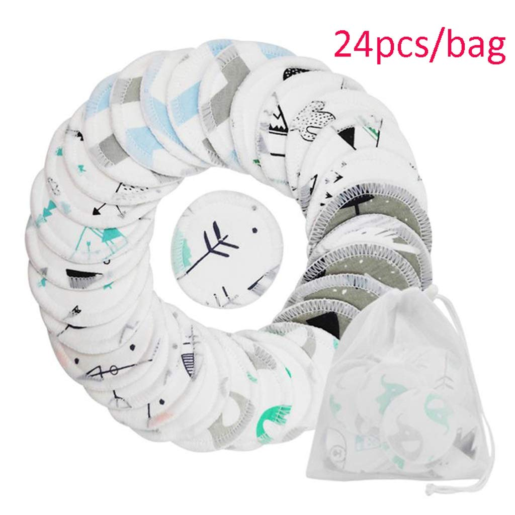 Reusable Washing Cloth Pad Three Layers Washable Cotton Soft Makeup Remover Cloth For Female Girl Makeup Tools (Color : White, Size : C(24pcs/bag))