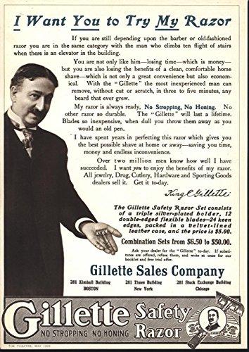 Gillette Safety Razor Advertisement 1908 vintage theater print