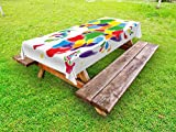Lunarable Abstract Outdoor Tablecloth, Vibrant Colors Featured African Continent with Countries National Geography Image, Decorative Washable Picnic Table Cloth, 58 X 120 inches, Multicolor