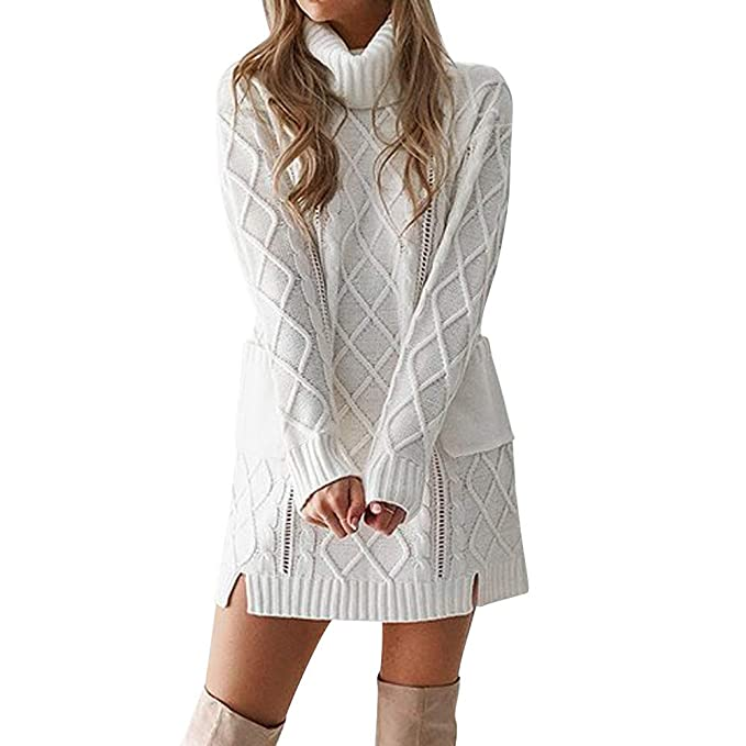 848d2d0a00 Longra ❤ Sudadera Suéter Mujer Ronda Cuello de Manga Larga Casual Vestido  Mini para Otoño Invierno  Amazon.es  Ropa y accesorios