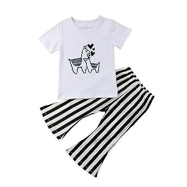 dc34f557c Amazon.com  2Pcs Toddler Infant Baby Girl Alpaca Short Sleeve T ...