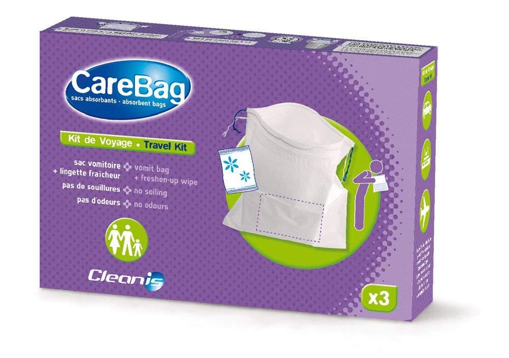 Cleanis Care Bag - Kit de viaje compuesto por bolsa para vomitar y toallita limpiadora refrescante (lote de 3 unidades)