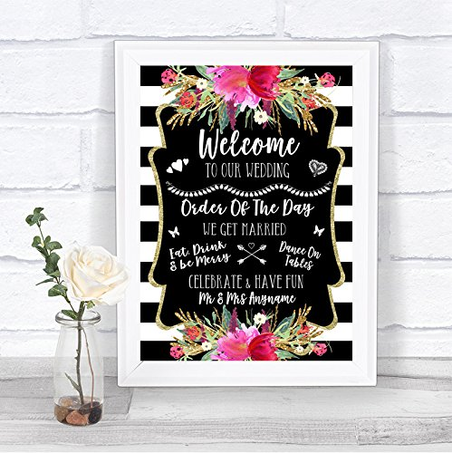 Black & White Stripes Pink Welcome Order of The Day Personalized Wedding Sign by The Card Zoo (Image #2)