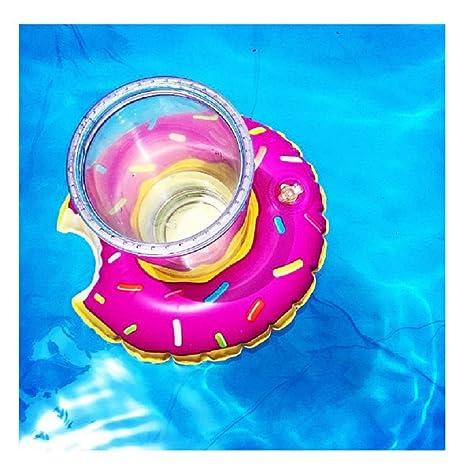 4 pcs Flotador Posavasos del Dulce,GZQES, Juguetes Hinchable Posavasos Rosquillas para Piscina,