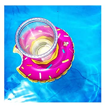 4 pcs Flotador Posavasos del Dulce,GZQES, Juguetes Hinchable Posavasos Rosquillas para Piscina,Titular de la Taza / Cabeza para Piscina Bañarse Playa ...