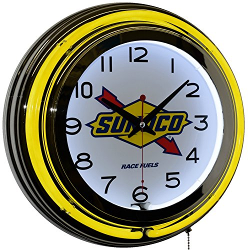 sunoco-race-fuel-gasoline-logo-advertising-double-yellow-neon-wall-clock