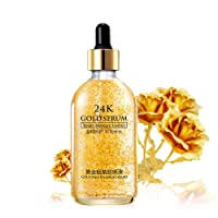 24k Pure Gold Foil Essence Serum, Makeup Primer, Moisturizing Anti-Aging Anti-Redness Acne Treament Essencial Cream, Face Skin Gold Essence Serum Nicotinamide(30ml/1 ounce)