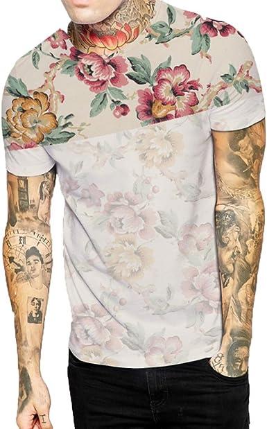 Summer Mens Floral Print Hawaiin Beach Surf Board Casual Shirts Tops T-shirt UK
