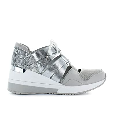 35de76ee3c4 Michael Michael Kors Beckett Lizard-Embossed Leather   Metallic Sneakers  Alum Silver (10