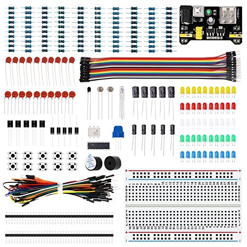 LAFVIN Electronic Fun Kit Bundle with Power Supply Module, Breadboard, Resistor, Capacitor, LED, Potentiometer Compatible with Arduino UNO, MEGA2560, Raspberry Pi (Raspberry Led)