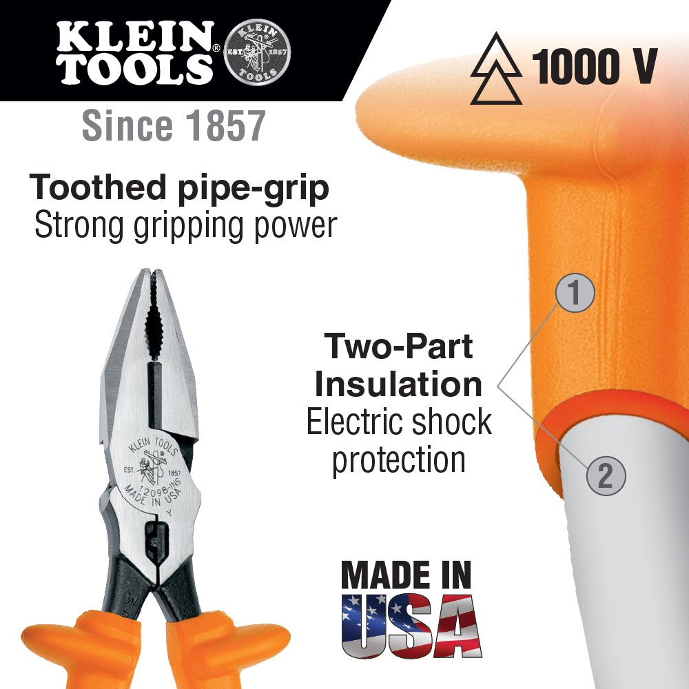 Insulated Universal Combination Pliers, Side Cutters with Crimper, 8-Inch Klein Tools 12098-INS - - Amazon.com