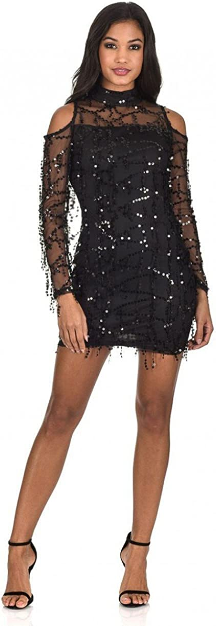 AX Paris Womens Long Sleeve Sequin Cut Out Dress