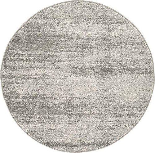 Unique Loom Del Mar Collection Gray 3 ft Round Area Rug (3' 3