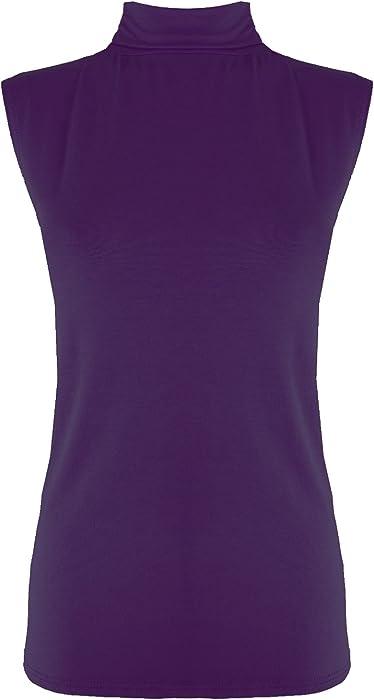 New Womens Ladies Sleeveless Plain Polo High Neck Turtle Crop Top Vest T-Shirt