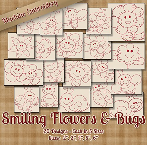 Smiling Flowers and Bugs Redwork Embroidery Machine Designs on CD - 20 (Outline Embroidery Design)