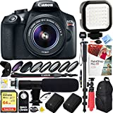 Canon T6 EOS Rebel Digital SLR Camera with EF-S 18-55mm IS II Lens Kit (1159C003) with 64GB SDXC Dual Battery & Shotgun Mic Pro Mobile Video Bundle