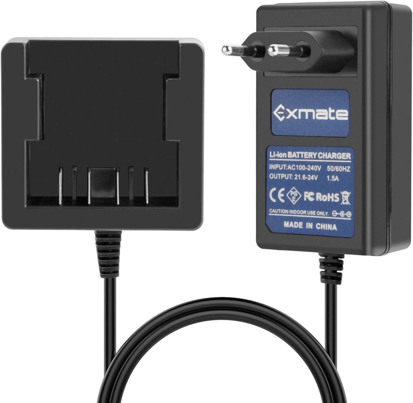 Exmate 21.6-24V Cargador para GreenWorks 29842 29852 29322 Batería de Litio Greenworks G-24 de 24V (No para Baterías NI-MH / NI-Cd)