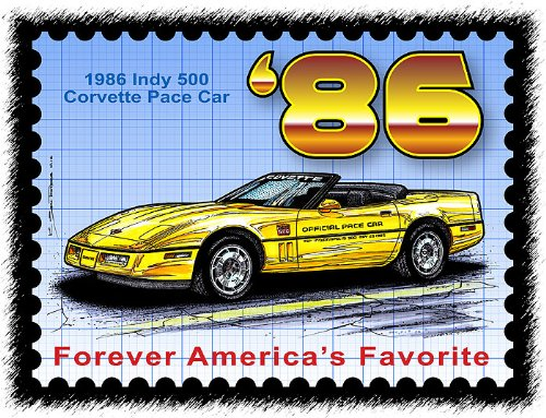 1986 Indy 500 Pace Car Corvette Postage Stamp ()