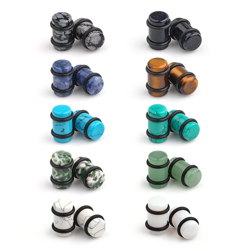 Ruifan 10 Pairs Set Natural Mixed Stone Saddle Ear Plugs Stretcher Expander Tunnels Gauges Piercing Jewelry O-Rings 2g-12mm EK00196