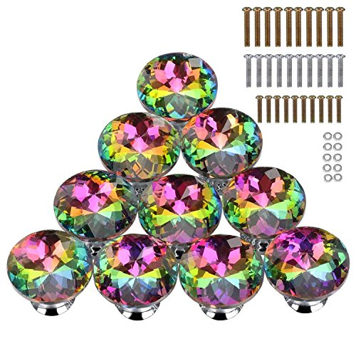 HOMEIDEAS 10PCS 30MM Colorful Crystal Knobs Glass